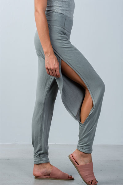 Ladies fashion elastic waistline comfortable open side pants