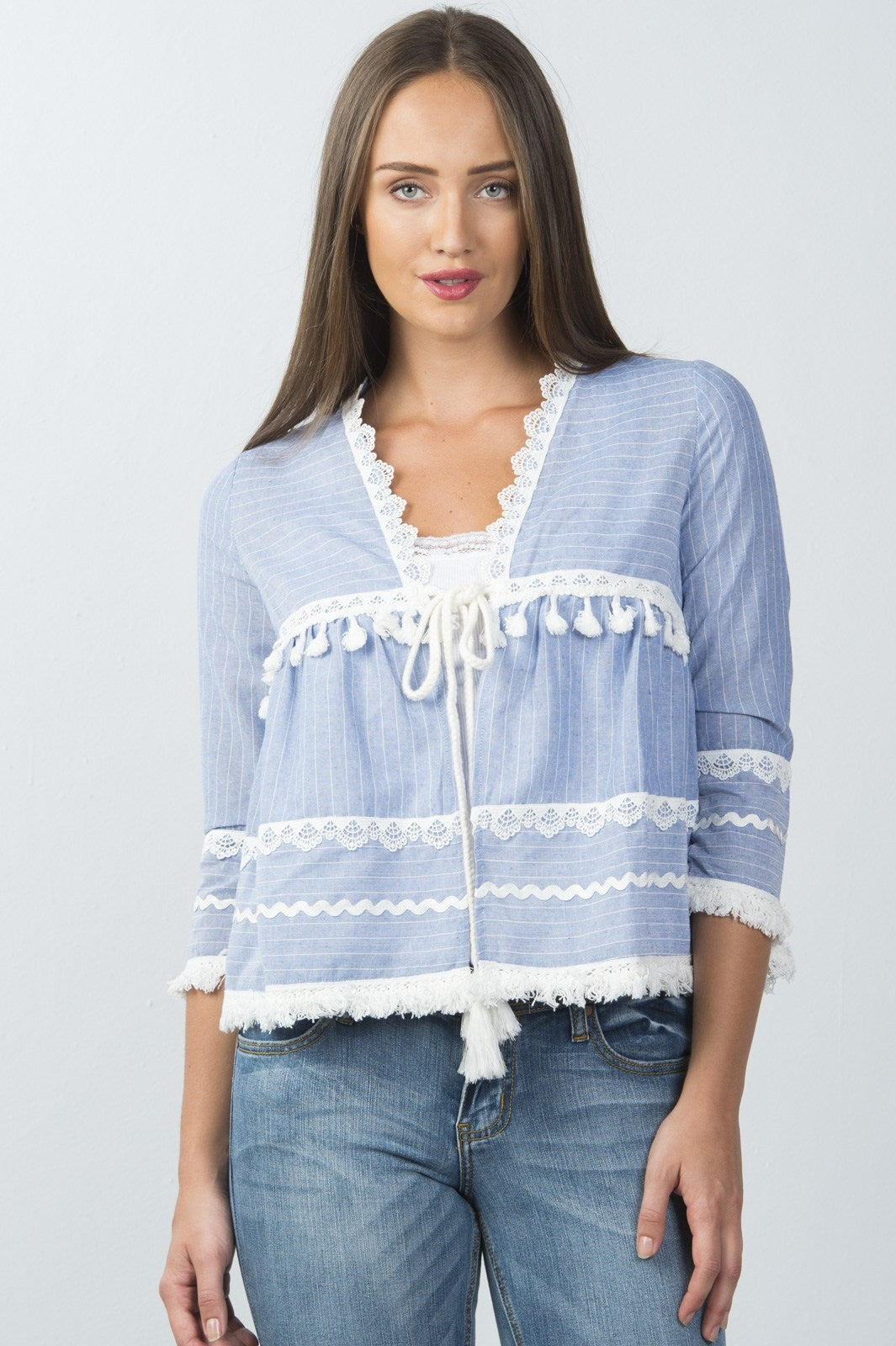 Ladies fashion blue and white lace trim and tassel tie kimono