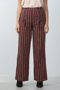 Ladies fashion high waisted stripe lace-up wide-leg pants