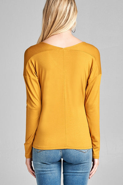 Ladies fashion plus size long dolman sleeve v-neck rayon spandex knit top