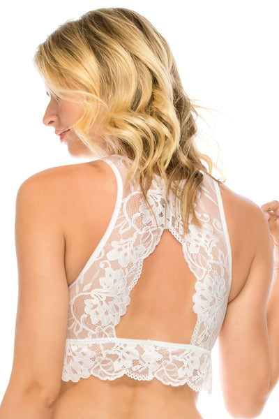 Ladies fashion floral lace high-neck bralette racerback w/keyhole