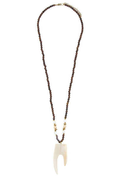 Wooded bead pendant long necklace