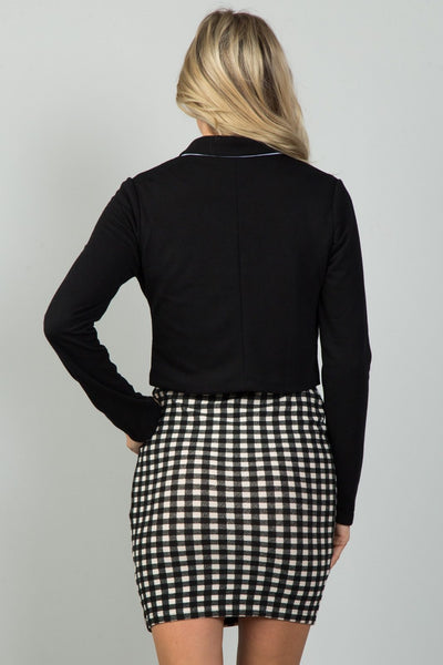 Ladies fashion black and white detail open front cropped blazer
