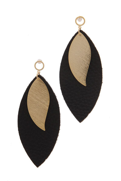 Leather Pointed Oval Post Drop Earring