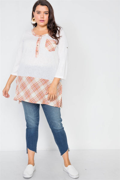 Plus Size Plaid Combo Plus Size Top