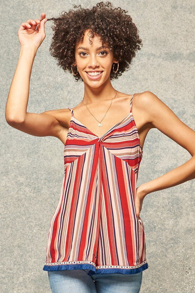 A Multi Stripes Camisole Top