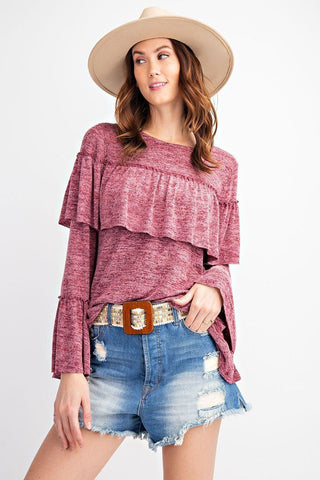 Bold Ruffles Featuring Overlay Accents Girly And Chic Bell Sleeve  2tone Hacci Tunic