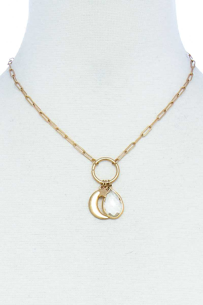 Fashion Chic Star And Moon Pendant Necklace