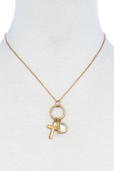 Fashion Chic Cross And Leaf Pendant Necklace