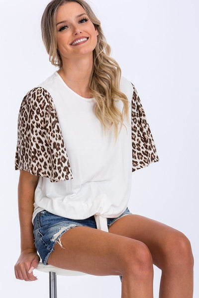 Contrast Leopard Print And Solid Top
