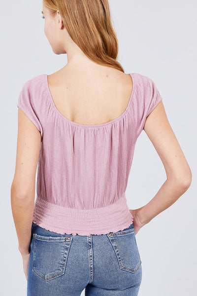 Short Puff Sleeve Front Tie Detail Smocked Waist Knit Gauze Top