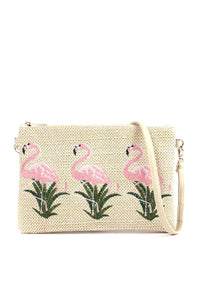 Flamingo Embroidered Pouch