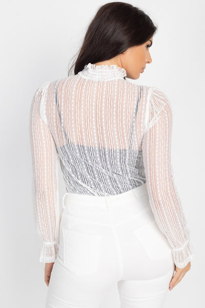 Ruffle Mock Neck Lace Top