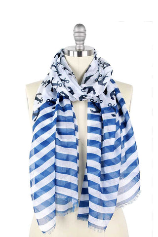 Fashion Anchor And Stripe Print Scarf