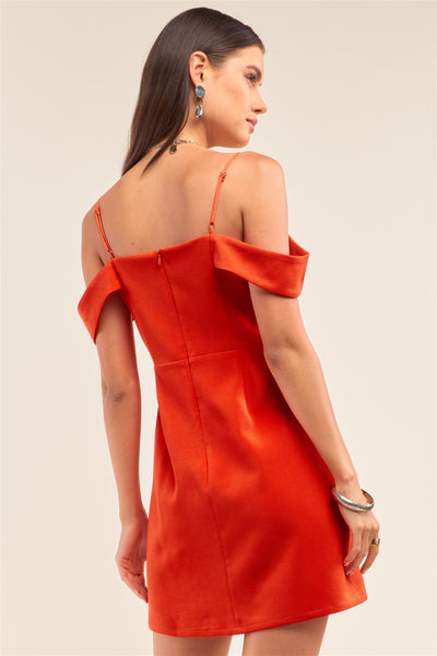 Tomato Red Sweetheart Neck Off The Shoulder Mini Dress