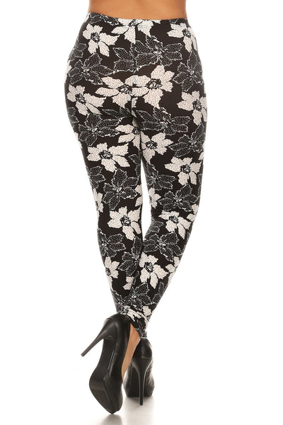 Plus Size Floral Pattern Printed Knit Legging With Elastic Waistband