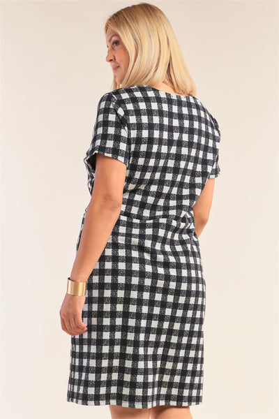 Plus Size Black&white Checkered Fitted Wrap Deep Plunge V-neck Dress