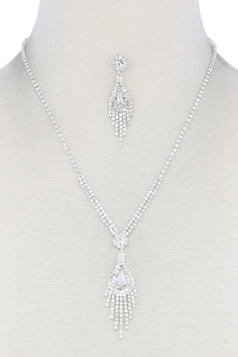 Rhinestone Dangle Pendant Necklace