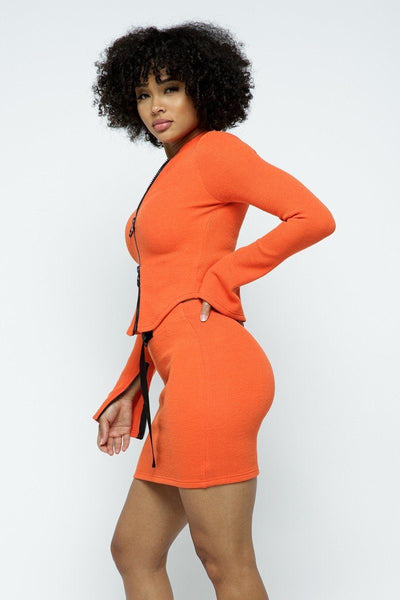 Stretchable Long Sleeve Cropped Top High-waist Mini Skirt