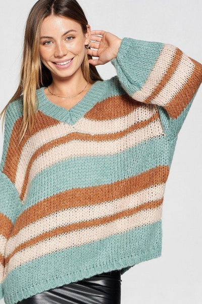 V-neck Cozy Thick Knit Stripe Pullover Sweater