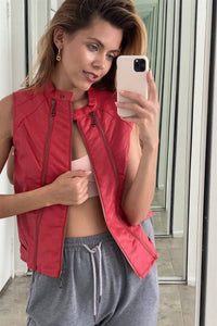 Red Vegan Leather Faux Fur Lining Triple Zip-up Detail Moto Vest