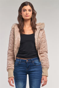 Letter Printed Zip-up Faux Fur Hood Detail Cropped Winter Bomber Jacket