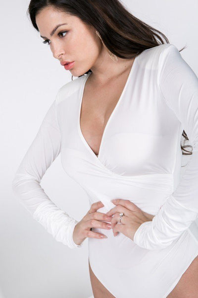 Long Sleeve Shirred Detail Surplice Bodysuit