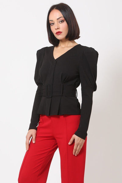 Puff Shoulder Buckle Belt Jacket
