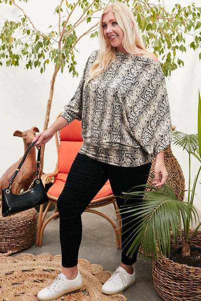 Boat Neck Long Bubble Sleeve Snake Print Knit Top