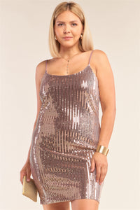 Plus Size Mocha Blush Sleeveless Round Neck Velvet Sequin Fitted Mini Dress