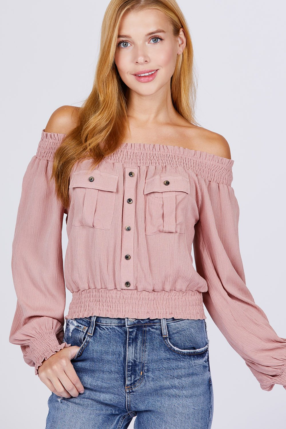 Front Pocket Off Shoulder Top
