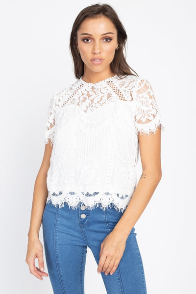 Eyelash Trim Sheer Floral Lace Top