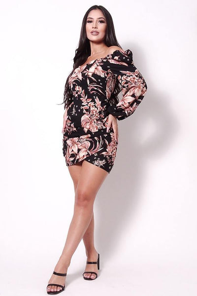 Balloon Sleeve Front Surplus Shirred Hem Floral Mini Dress