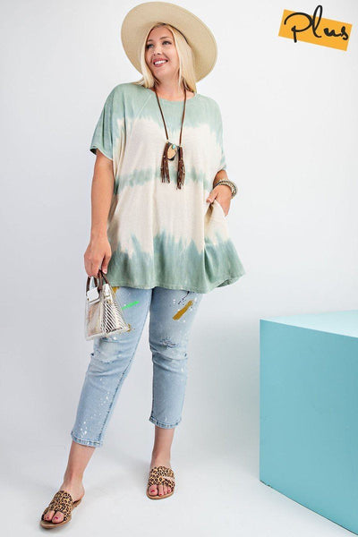 Short Sleeves Wave Washed Sheer Rayon Knit Top