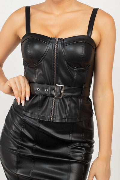 Top & Mini Skirt Waist Tie Set