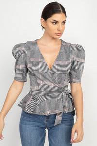 Plaid Front Wrap Puff Sleeve Top