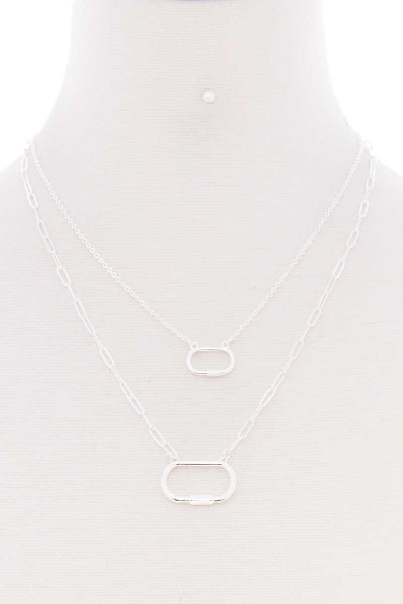 2 Layered Chain Oval Pendant Metal Necklace Earring Set