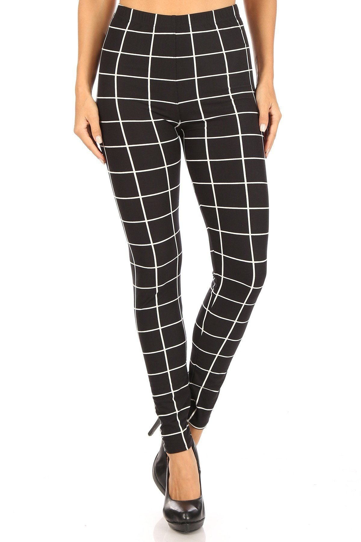 Plaid High Waisted Leggings With Elastic Waist And Skinny Fit