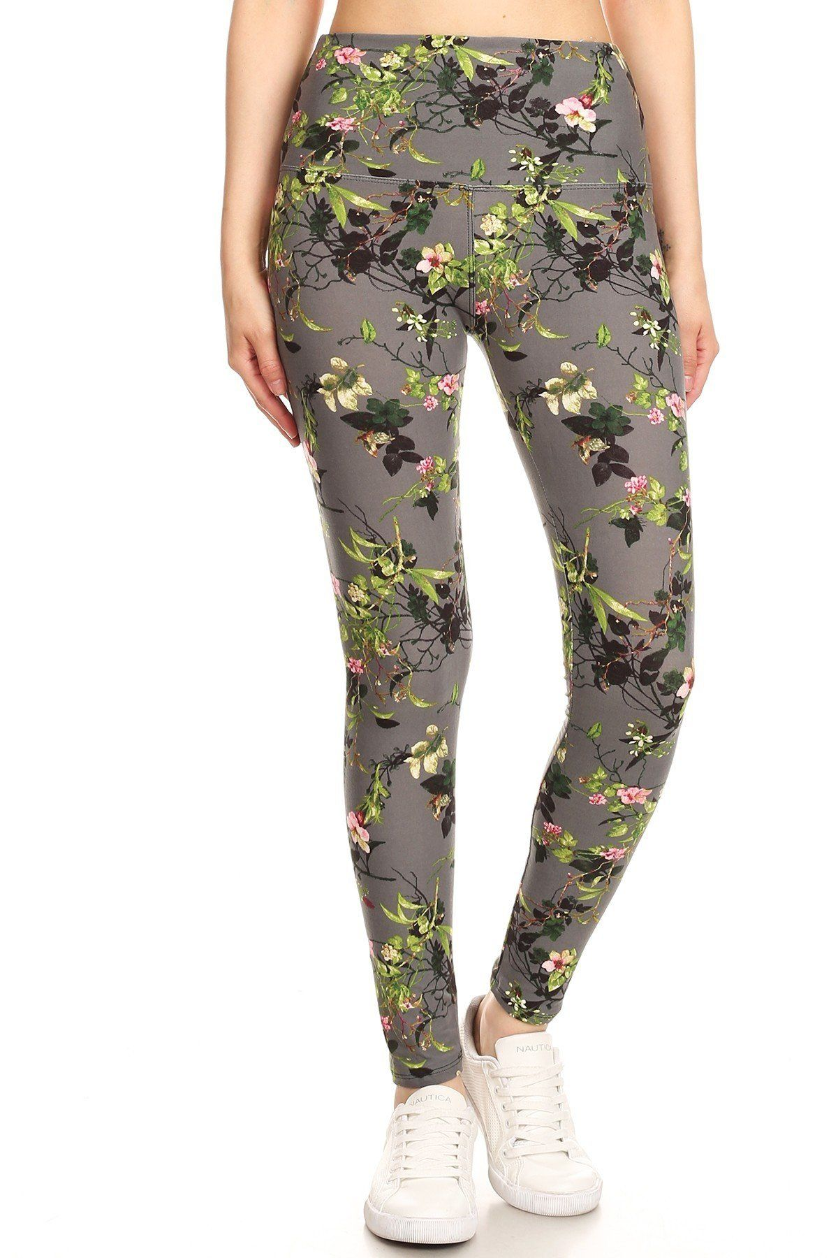 5-inch Long Yoga Style Banded Lined Floral Printed Knit Legging With High Waist