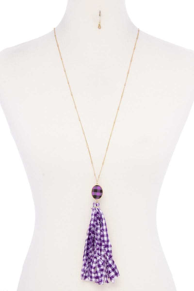 Checkered Pattern Fabric Tassel Necklace