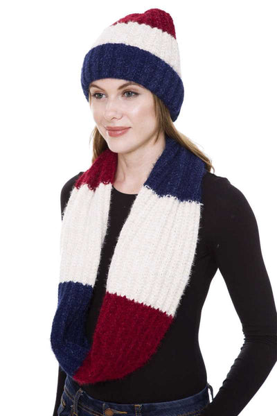 Stripe Pattern Infinity Scarf And Knit Hat Set