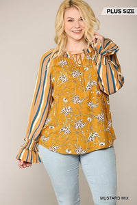 Print Mixed Peasant Smocked Top
