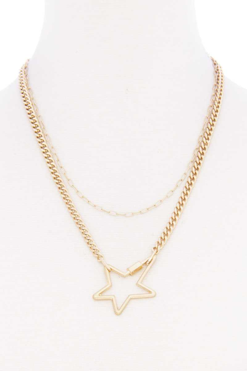 Star Pendnat Cuban Link Layered Metal Necklace