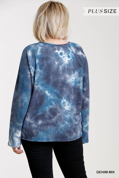 French Terry Tie-dye Raglan Long Sleeve Top With Raw Hem