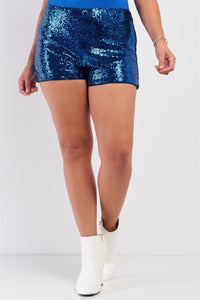 Plus Size Shiny Sequin High Waisted Mini Shorts