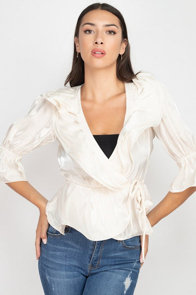 Surplice Short Sleeve Ruffle Top