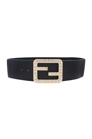 2fb Rhinestone Buckle Elastic Belt