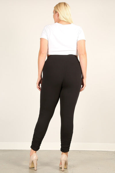 Plus Size Solid High Rise, Fitted Leggings With An Elastic Waistband And Ruched Pants