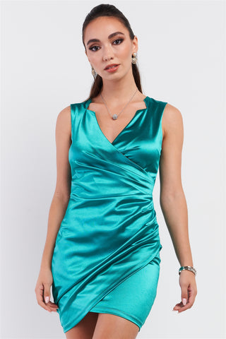 Emerald Green Satin Effect Sleeveless V-neck Wrap Front Detail Mini Dress