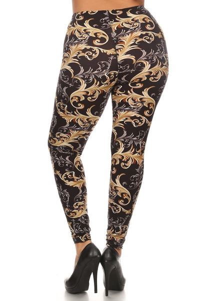 Plus Size Paisley Print, Full Length Leggings In A Slim Fitting Style With A Banded High Waist